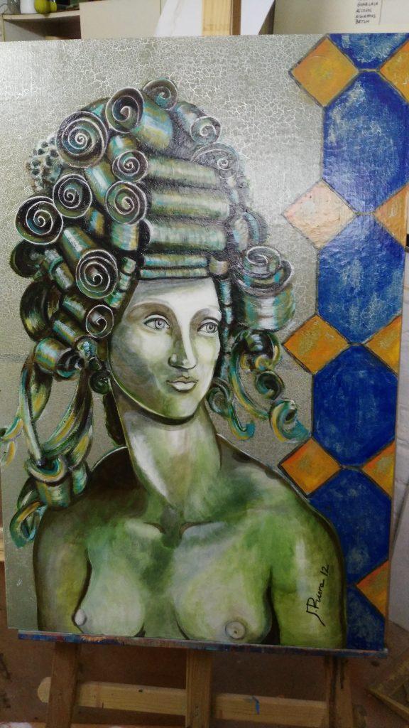 Dukessa es un acrílico sobre madera y papel pintado. dimensiones 90x60